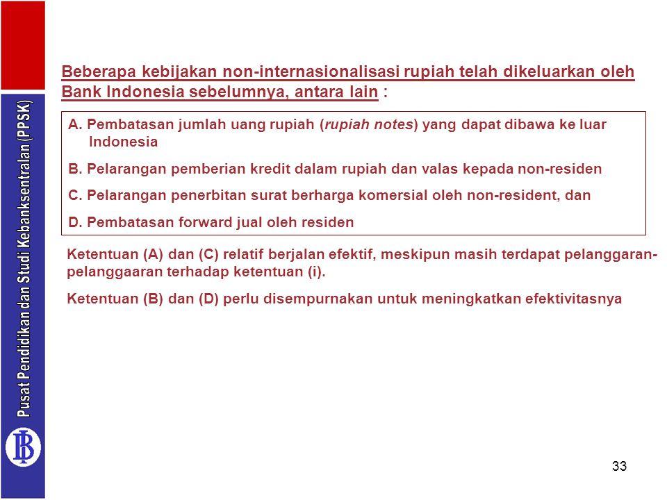 33 Beberapa kebijakan non-internasionalisasi rupiah telah dikeluarkan oleh Bank Indonesia sebelumnya, antara lain : A. Pembatasan jumlah uang rupiah (