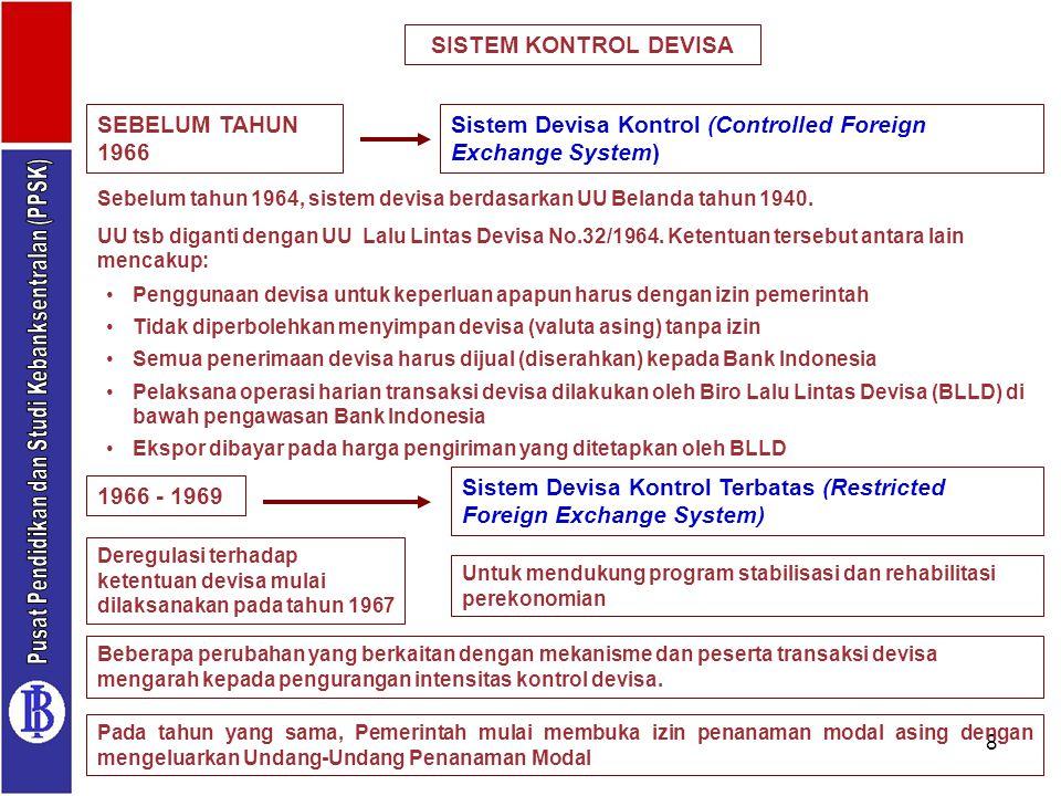 8 SISTEM KONTROL DEVISA Penggunaan devisa untuk keperluan apapun harus dengan izin pemerintah Tidak diperbolehkan menyimpan devisa (valuta asing) tanp