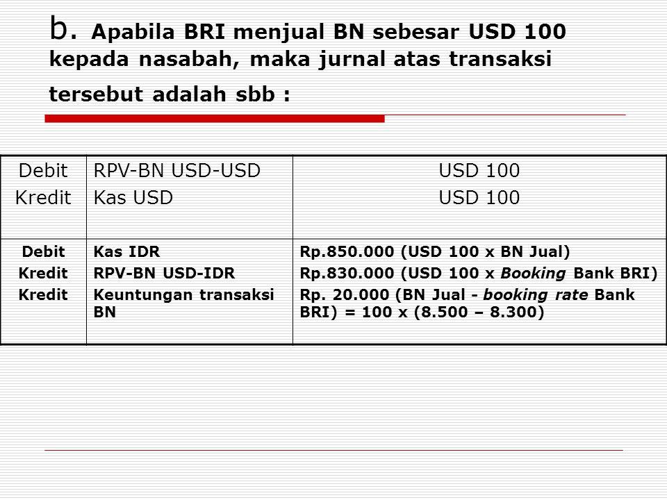 b. Apabila BRI menjual BN sebesar USD 100 kepada nasabah, maka jurnal atas transaksi tersebut adalah sbb : Debit Kredit RPV-BN USD-USD Kas USD USD 100