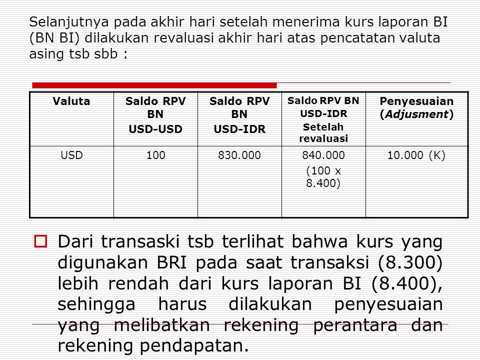Selanjutnya pada akhir hari setelah menerima kurs laporan BI (BN BI) dilakukan revaluasi akhir hari atas pencatatan valuta asing tsb sbb : ValutaSaldo