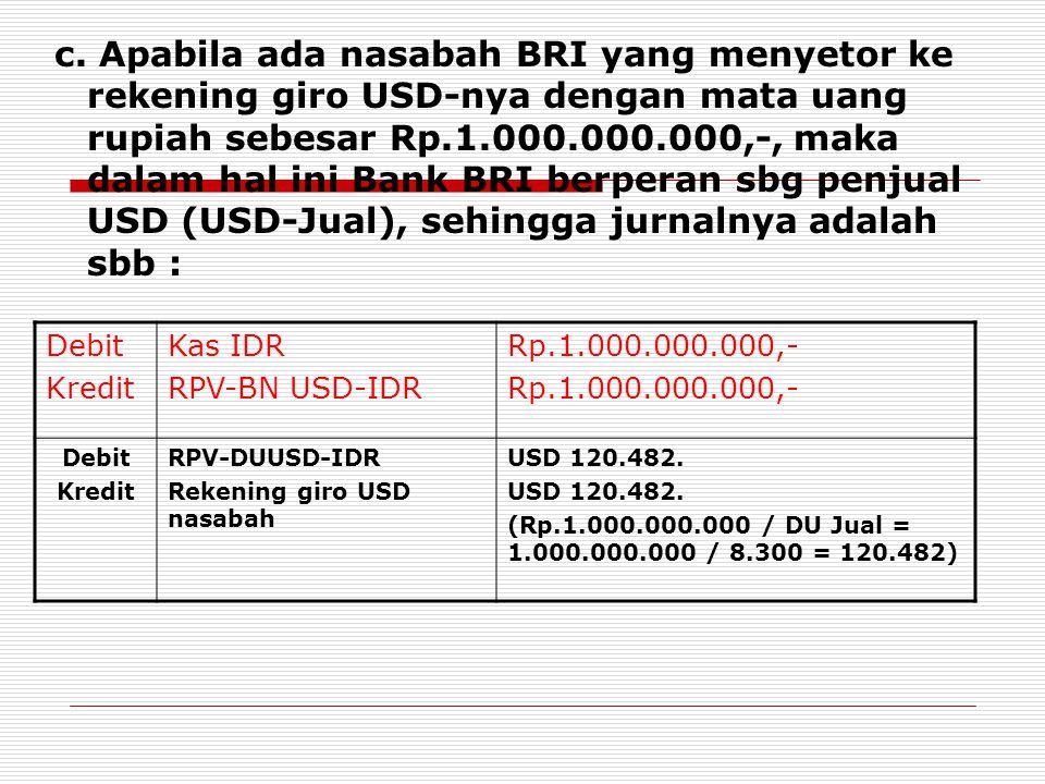 c. Apabila ada nasabah BRI yang menyetor ke rekening giro USD-nya dengan mata uang rupiah sebesar Rp.1.000.000.000,-, maka dalam hal ini Bank BRI berp