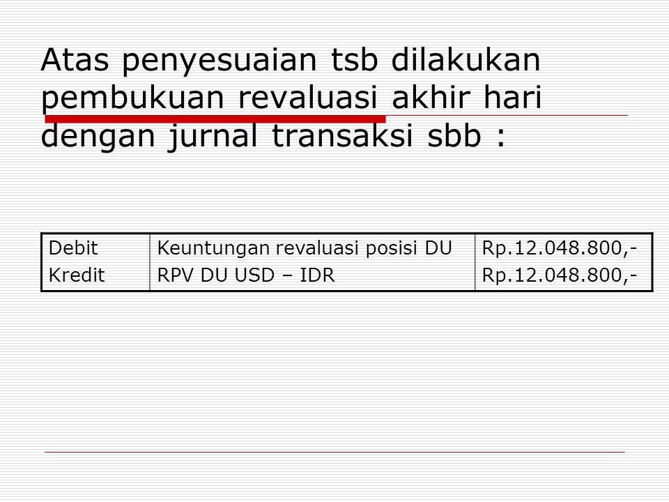 Atas penyesuaian tsb dilakukan pembukuan revaluasi akhir hari dengan jurnal transaksi sbb : Debit Kredit Keuntungan revaluasi posisi DU RPV DU USD – I