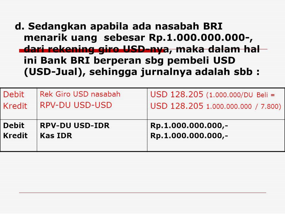 d. Sedangkan apabila ada nasabah BRI menarik uang sebesar Rp.1.000.000.000-, dari rekening giro USD-nya, maka dalam hal ini Bank BRI berperan sbg pemb