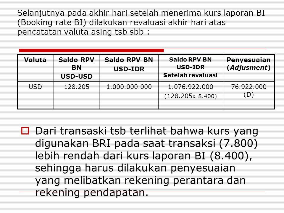 Selanjutnya pada akhir hari setelah menerima kurs laporan BI (Booking rate BI) dilakukan revaluasi akhir hari atas pencatatan valuta asing tsb sbb : V