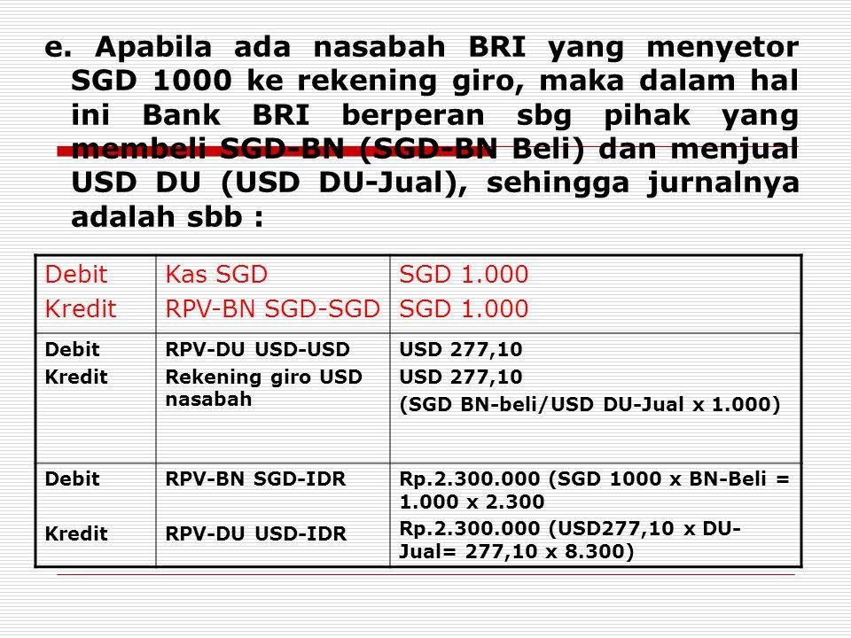 e. Apabila ada nasabah BRI yang menyetor SGD 1000 ke rekening giro, maka dalam hal ini Bank BRI berperan sbg pihak yang membeli SGD-BN (SGD-BN Beli) d