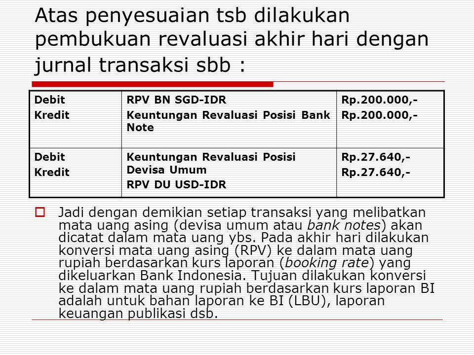 Atas penyesuaian tsb dilakukan pembukuan revaluasi akhir hari dengan jurnal transaksi sbb : Debit Kredit RPV BN SGD-IDR Keuntungan Revaluasi Posisi Ba