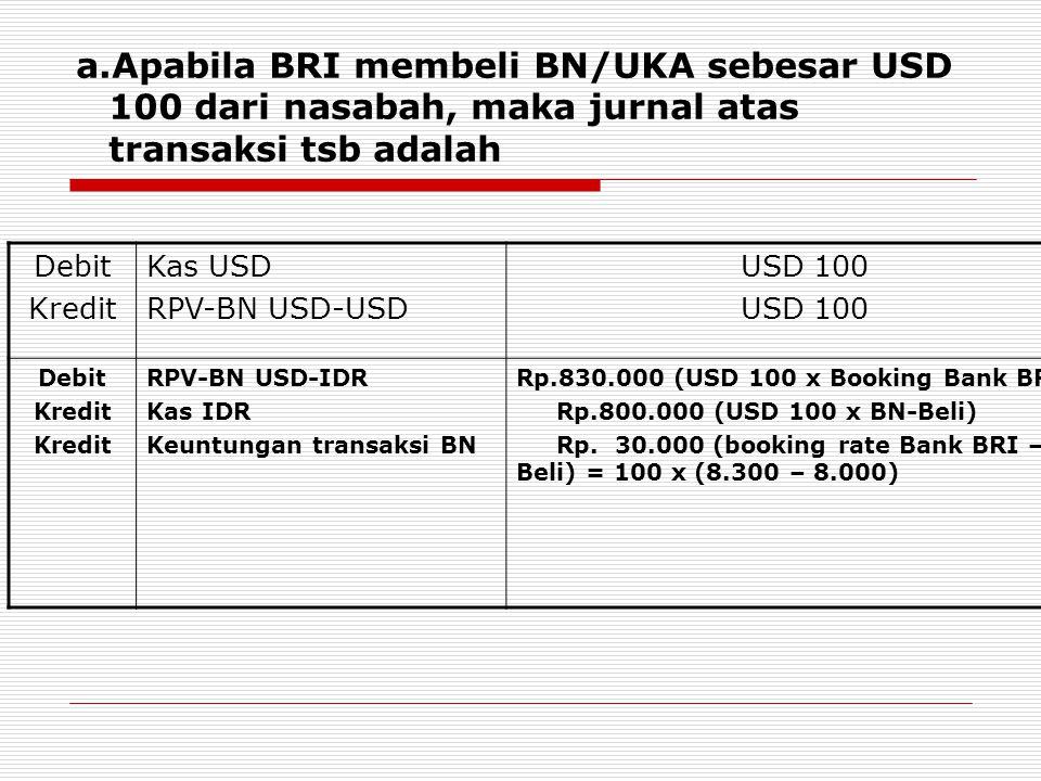 Selanjutnya pada akhir hari setelah menerima kurs laporan dari BI (booking rate BI) dilakukan revaluasi akhir hari atas pencatatan valuta asing tsb sbb : ValutaSaldo RPV BN USD-USD Saldo RPV BN USD-IDR Saldo RPV BN USD-IDR Setelah revaluasi Penyesuaian (Adjusment) USD100830.000840.000 (100 x 8.400) 10.000 (D)  Dari transaski tsb terlihat bahwa kurs yang digunakan BRI pada saat transaksi (8.300) lebih rendah dari kurs laporan BI (8.400), sehingga harus dilakukan penyesuaian yang melibatkan rekening perantara dan rekening pendapatan.