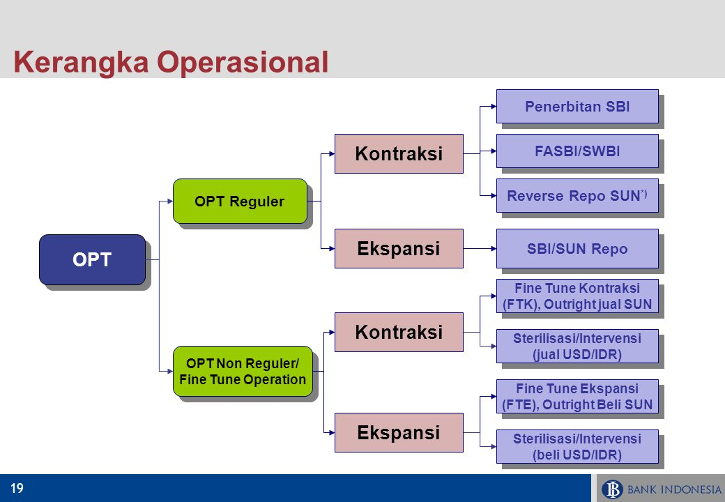 19 Kerangka Operasional OPT OPT Reguler OPT Non Reguler/ Fine Tune Operation OPT Non Reguler/ Fine Tune Operation Penerbitan SBI FASBI/SWBI Reverse Re