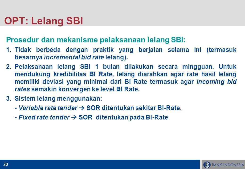 20 OPT: Lelang SBI Prosedur dan mekanisme pelaksanaan lelang SBI: 1.Tidak berbeda dengan praktik yang berjalan selama ini (termasuk besarnya increment