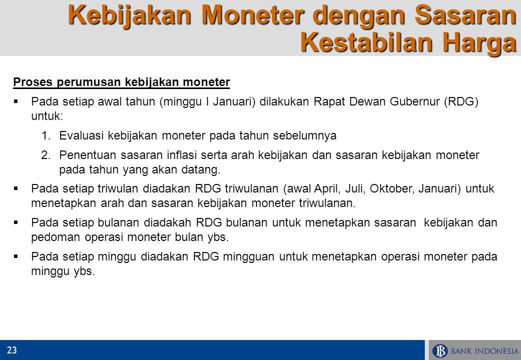23 Proses perumusan kebijakan moneter  Pada setiap awal tahun (minggu I Januari) dilakukan Rapat Dewan Gubernur (RDG) untuk:  Evaluasi kebijakan mo