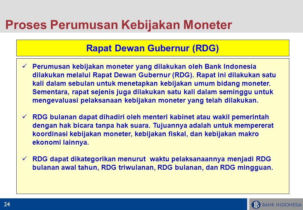 24 Proses Perumusan Kebijakan Moneter Rapat Dewan Gubernur (RDG) Perumusan kebijakan moneter yang dilakukan oleh Bank Indonesia dilakukan melalui Rapa