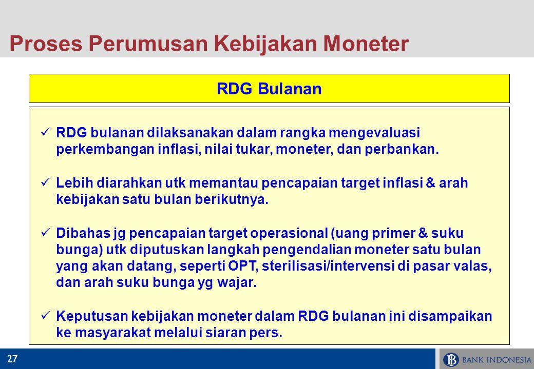 27 RDG Bulanan RDG bulanan dilaksanakan dalam rangka mengevaluasi perkembangan inflasi, nilai tukar, moneter, dan perbankan. Lebih diarahkan utk meman