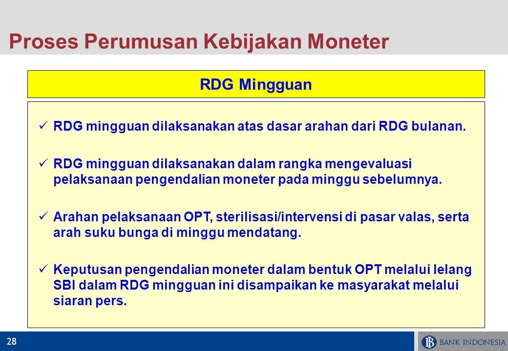 28 RDG Mingguan RDG mingguan dilaksanakan atas dasar arahan dari RDG bulanan. RDG mingguan dilaksanakan dalam rangka mengevaluasi pelaksanaan pengenda