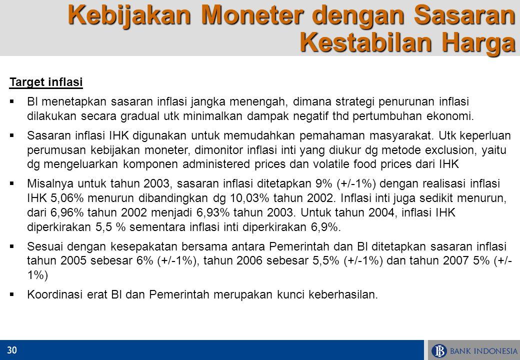 30 Target inflasi  BI menetapkan sasaran inflasi jangka menengah, dimana strategi penurunan inflasi dilakukan secara gradual utk minimalkan dampak ne
