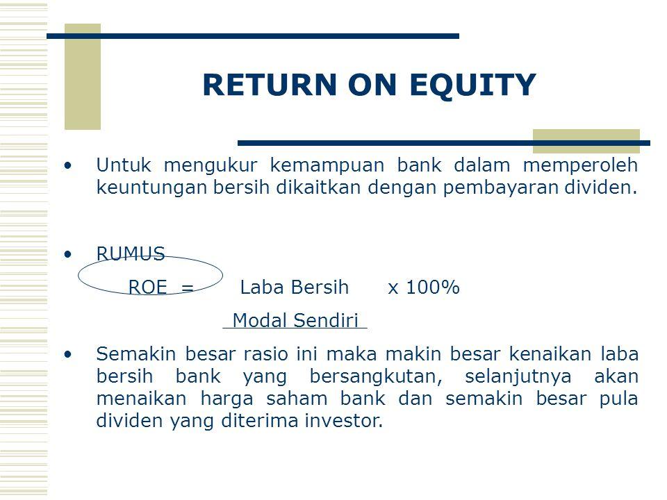RETURN ON EQUITY Untuk mengukur kemampuan bank dalam memperoleh keuntungan bersih dikaitkan dengan pembayaran dividen. RUMUS ROE = Laba Bersih x 100%