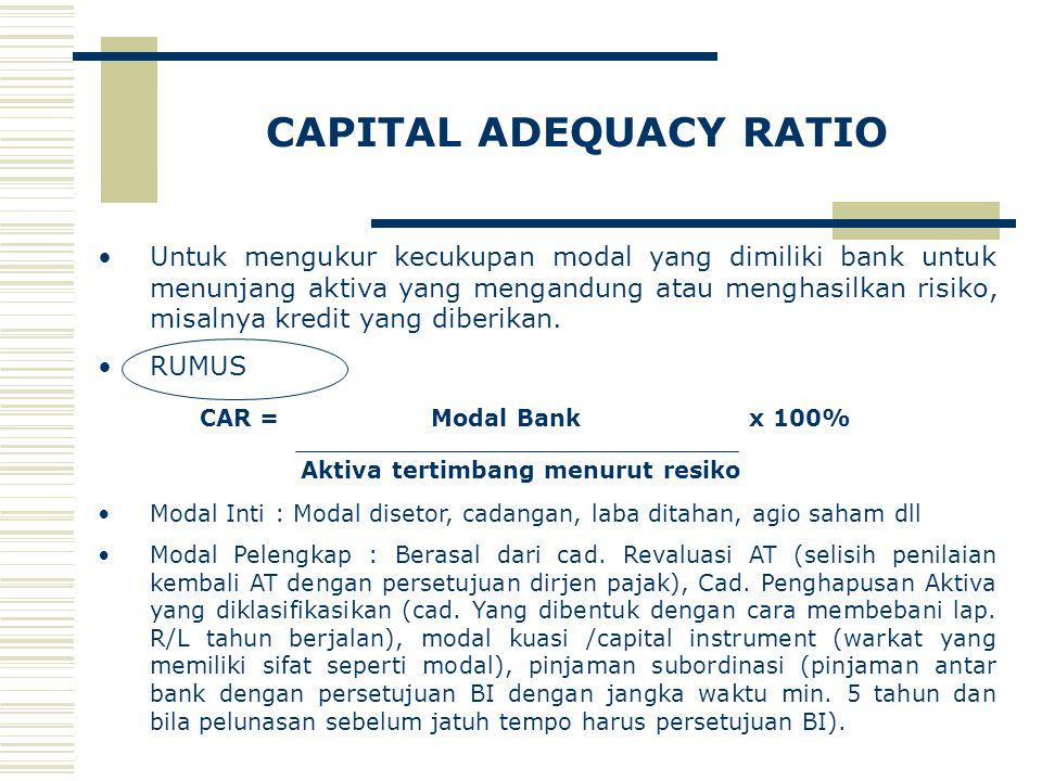 CAPITAL ADEQUACY RATIO Untuk mengukur kecukupan modal yang dimiliki bank untuk menunjang aktiva yang mengandung atau menghasilkan risiko, misalnya kre