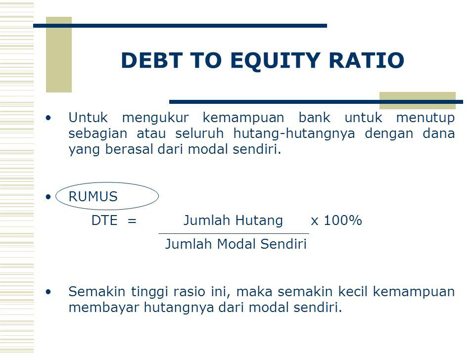DEBT TO EQUITY RATIO Untuk mengukur kemampuan bank untuk menutup sebagian atau seluruh hutang-hutangnya dengan dana yang berasal dari modal sendiri.