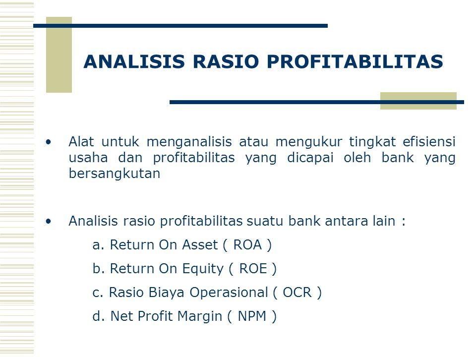 ANALISIS RASIO PROFITABILITAS Alat untuk menganalisis atau mengukur tingkat efisiensi usaha dan profitabilitas yang dicapai oleh bank yang bersangkutan Analisis rasio profitabilitas suatu bank antara lain : a.