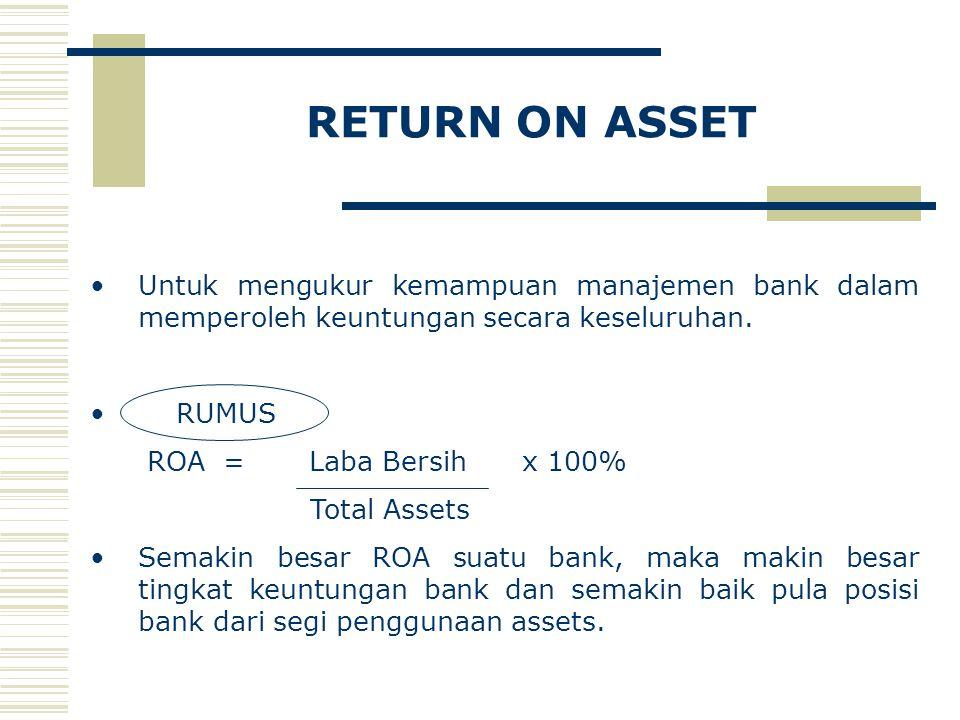 RETURN ON ASSET Untuk mengukur kemampuan manajemen bank dalam memperoleh keuntungan secara keseluruhan. RUMUS ROA = Laba Bersih x 100% Total Assets Se