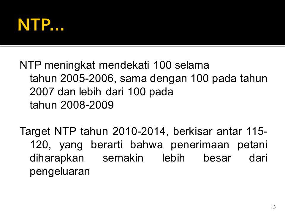 NTP meningkat mendekati 100 selama tahun 2005-2006, sama dengan 100 pada tahun 2007 dan lebih dari 100 pada tahun 2008-2009 Target NTP tahun 2010-2014, berkisar antar 115- 120, yang berarti bahwa penerimaan petani diharapkan semakin lebih besar dari pengeluaran 13