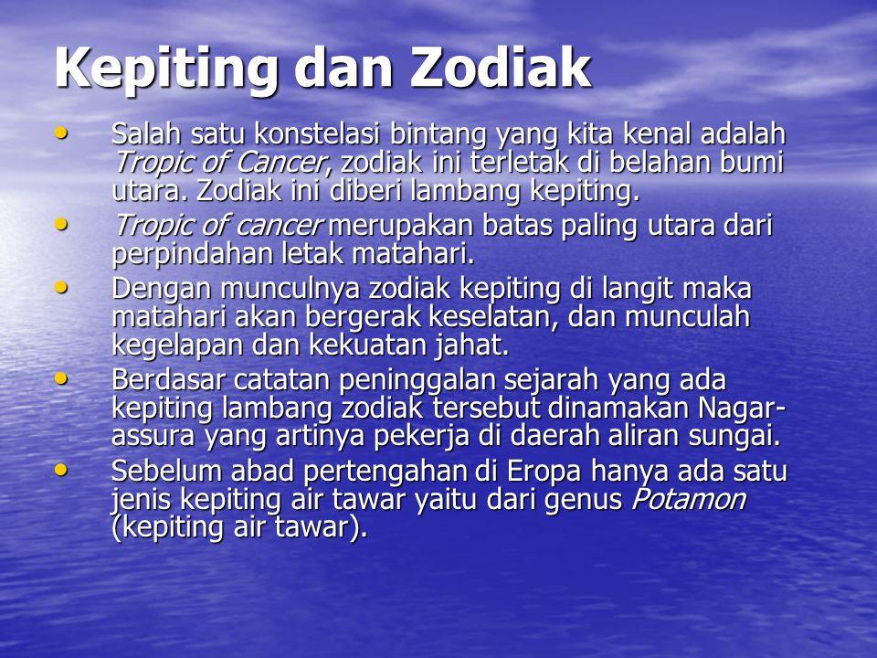 Kepiting dan Zodiak Salah satu konstelasi bintang yang kita kenal adalah Tropic of Cancer, zodiak ini terletak di belahan bumi utara. Zodiak ini diber