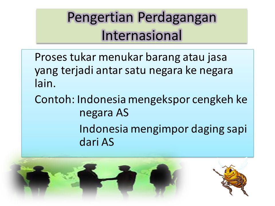 Proses tukar menukar barang atau jasa yang terjadi antar satu negara ke negara lain.