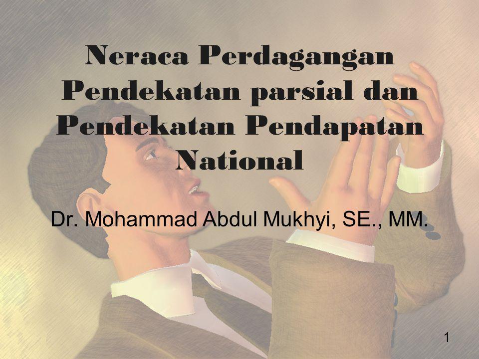 Neraca Perdagangan Pendekatan parsial dan Pendekatan Pendapatan National Dr. Mohammad Abdul Mukhyi, SE., MM. 1