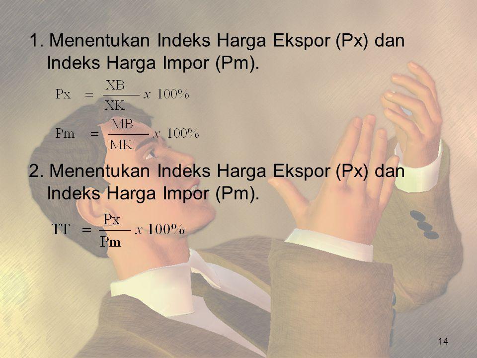 1. Menentukan Indeks Harga Ekspor (Px) dan Indeks Harga Impor (Pm). 14 2. Menentukan Indeks Harga Ekspor (Px) dan Indeks Harga Impor (Pm).