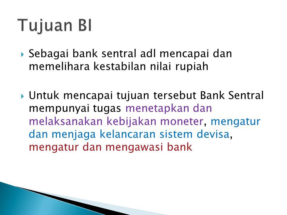  Sebagai bank sentral adl mencapai dan memelihara kestabilan nilai rupiah  Untuk mencapai tujuan tersebut Bank Sentral mempunyai tugas menetapkan dan melaksanakan kebijakan moneter, mengatur dan menjaga kelancaran sistem devisa, mengatur dan mengawasi bank