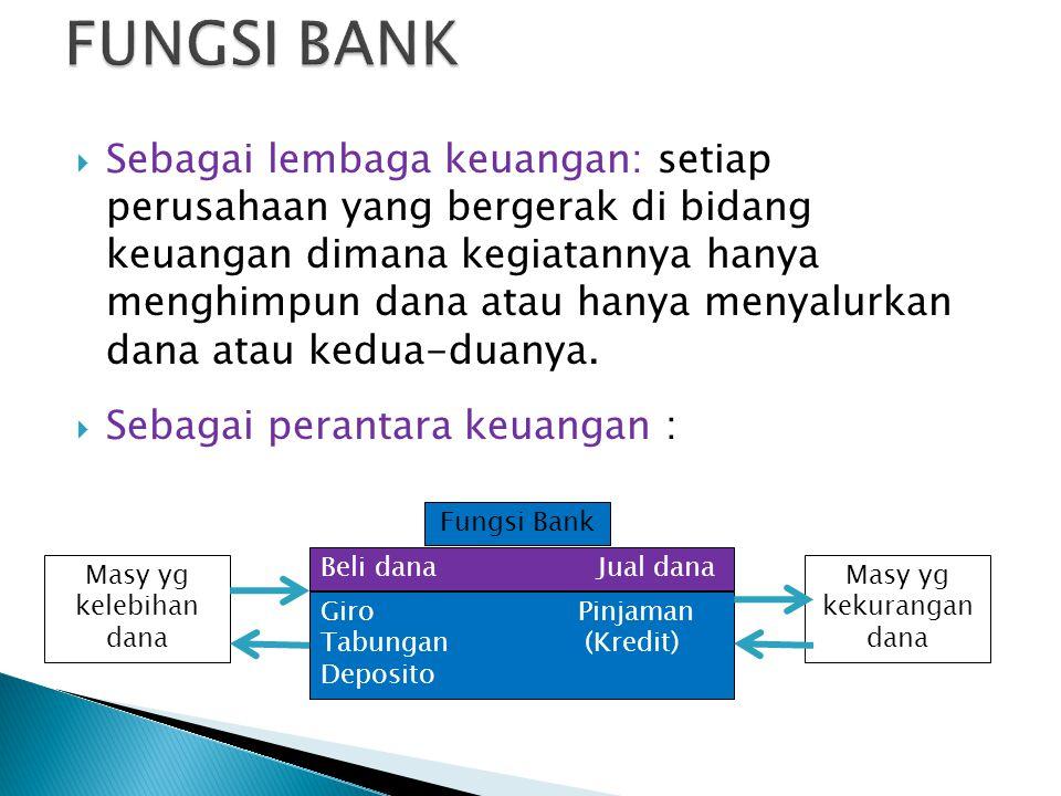  Sebagai lembaga keuangan: setiap perusahaan yang bergerak di bidang keuangan dimana kegiatannya hanya menghimpun dana atau hanya menyalurkan dana atau kedua-duanya.