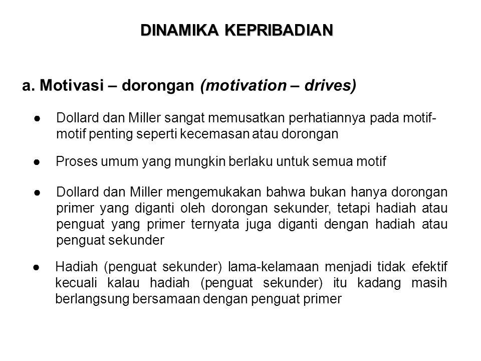 DINAMIKA KEPRIBADIAN a. Motivasi – dorongan (motivation – drives) ● Proses umum yang mungkin berlaku untuk semua motif ●Dollard dan Miller sangat memu