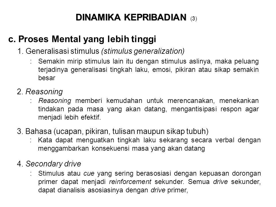 DINAMIKA KEPRIBADIAN DINAMIKA KEPRIBADIAN (3) c. Proses Mental yang lebih tinggi : Reasoning memberi kemudahan untuk merencanakan, menekankan tindakan
