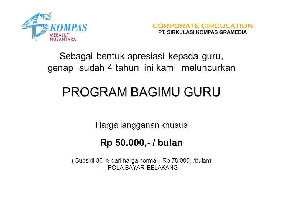 Sebagai bentuk apresiasi kepada guru, genap sudah 4 tahun ini kami meluncurkan PROGRAM BAGIMU GURU Harga langganan khusus Rp 50.000,- / bulan ( Subsid