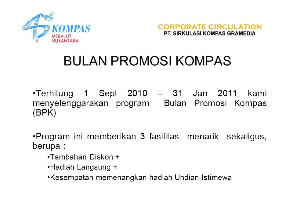 BULAN PROMOSI KOMPAS Terhitung 1 Sept 2010 – 31 Jan 2011 kami menyelenggarakan program Bulan Promosi Kompas (BPK) Program ini memberikan 3 fasilitas m