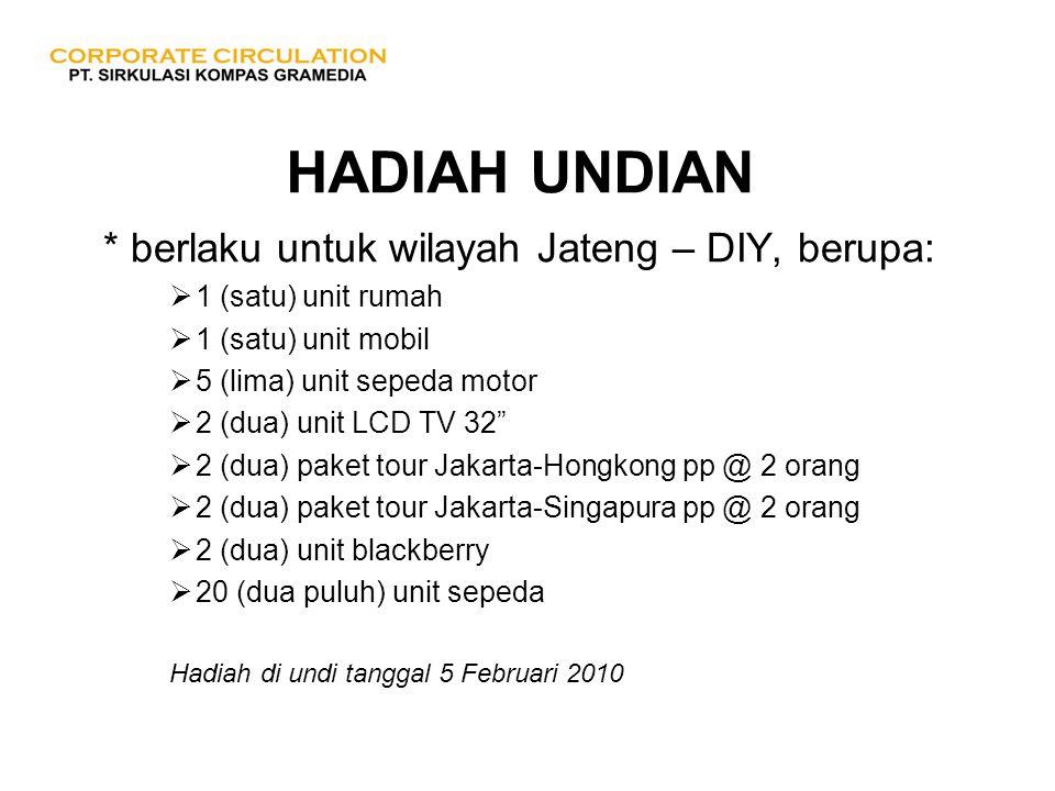 HADIAH UNDIAN * berlaku untuk wilayah Jateng – DIY, berupa:  1 (satu) unit rumah  1 (satu) unit mobil  5 (lima) unit sepeda motor  2 (dua) unit LC