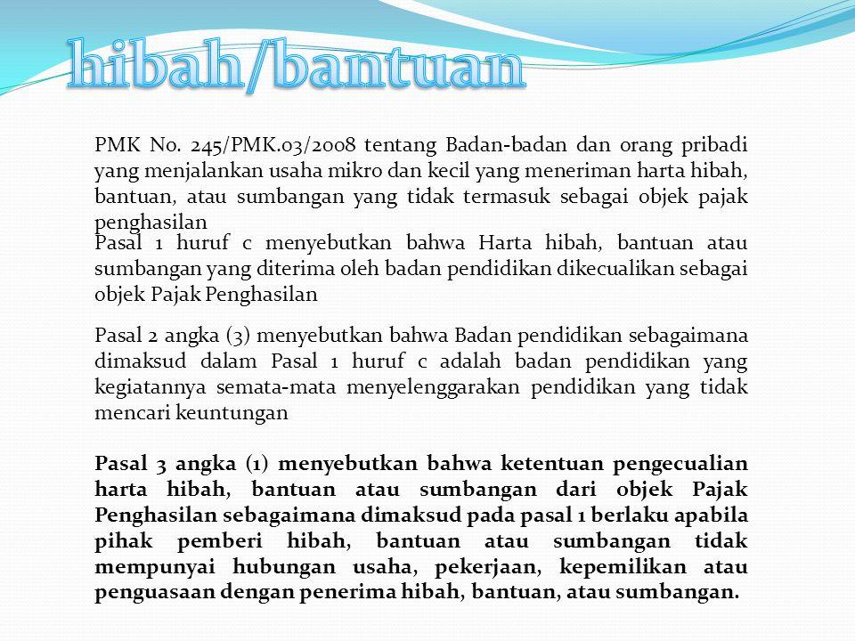 PMK No. 245/PMK.03/2008 tentang Badan-badan dan orang pribadi yang menjalankan usaha mikro dan kecil yang meneriman harta hibah, bantuan, atau sumbang