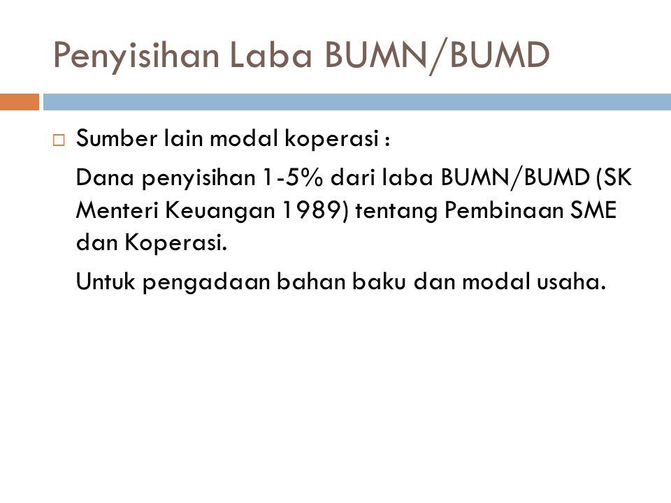 Penyisihan Laba BUMN/BUMD  Sumber lain modal koperasi : Dana penyisihan 1-5% dari laba BUMN/BUMD (SK Menteri Keuangan 1989) tentang Pembinaan SME dan
