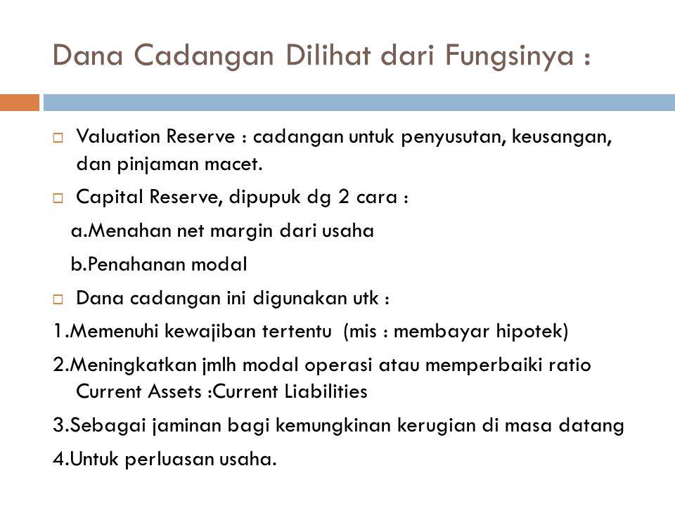 Dana Cadangan Dilihat dari Fungsinya :  Valuation Reserve : cadangan untuk penyusutan, keusangan, dan pinjaman macet.  Capital Reserve, dipupuk dg 2