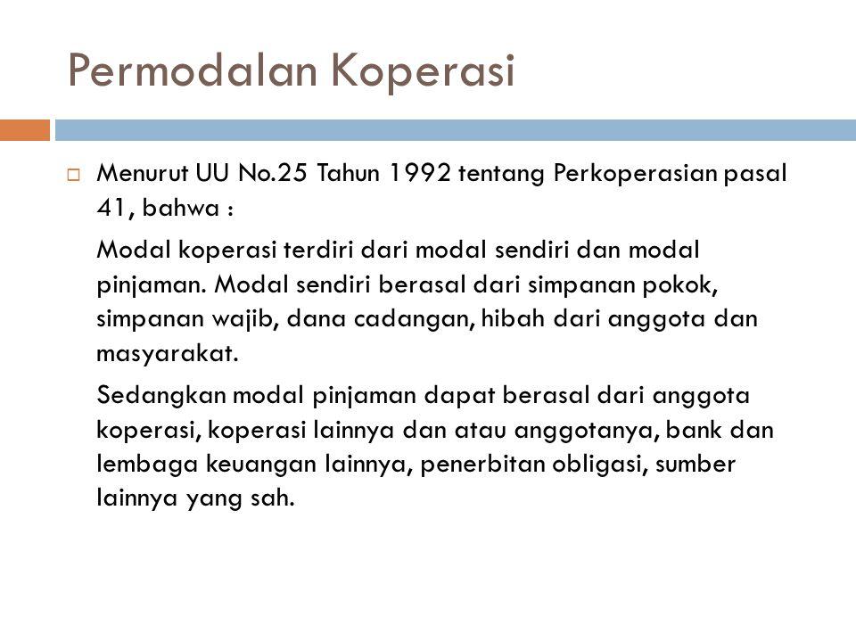 Permodalan Koperasi  Menurut UU No.25 Tahun 1992 tentang Perkoperasian pasal 41, bahwa : Modal koperasi terdiri dari modal sendiri dan modal pinjaman