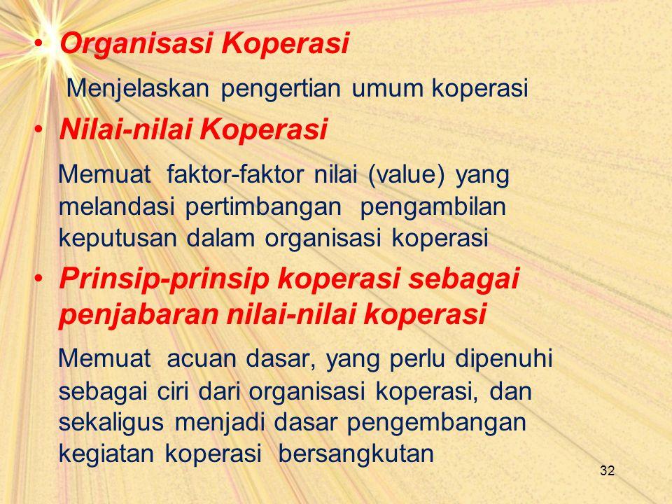 Organisasi Koperasi Menjelaskan pengertian umum koperasi Nilai-nilai Koperasi Memuat faktor-faktor nilai (value) yang melandasi pertimbangan pengambil