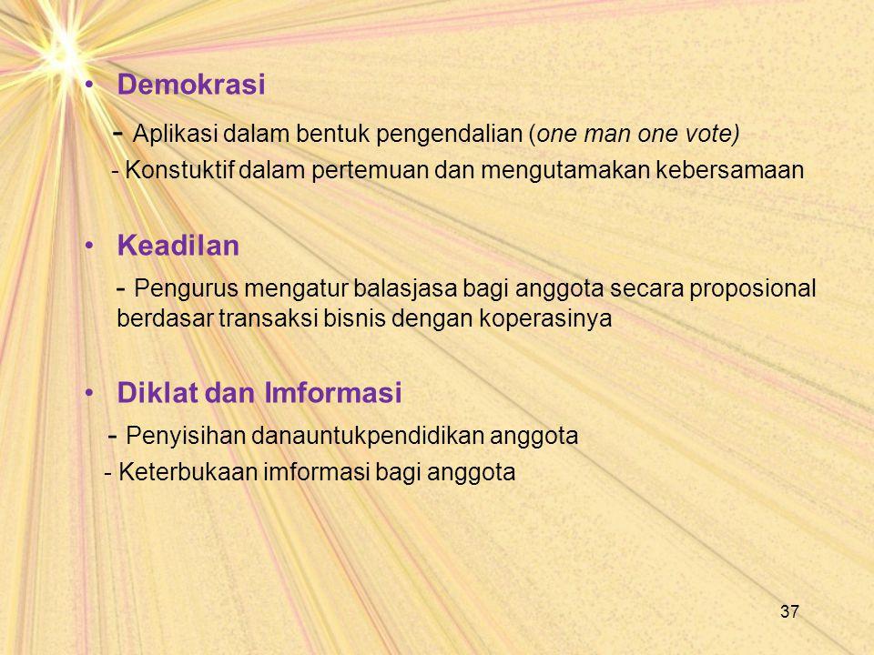 Demokrasi - Aplikasi dalam bentuk pengendalian (one man one vote) - Konstuktif dalam pertemuan dan mengutamakan kebersamaan Keadilan - Pengurus mengat