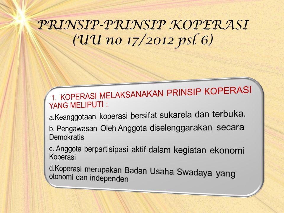 PRINSIP-PRINSIP KOPERASI (UU no 17/2012 psl 6)