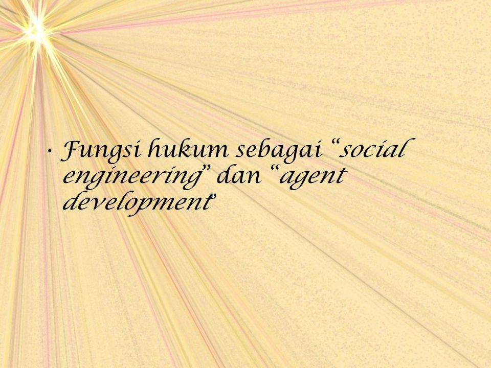 "Fungsi hukum sebagai ""social engineering"" dan ""agent development """