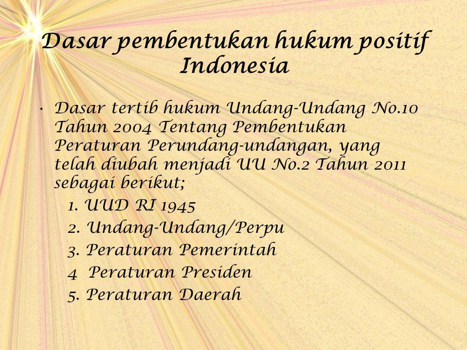 Dasar pembentukan hukum positif Indonesia Dasar tertib hukum Undang-Undang No.10 Tahun 2004 Tentang Pembentukan Peraturan Perundang-undangan, yang tel