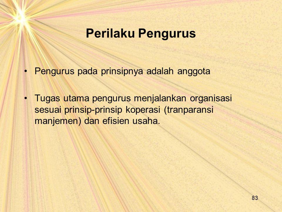 Perilaku Pengurus Pengurus pada prinsipnya adalah anggota Tugas utama pengurus menjalankan organisasi sesuai prinsip-prinsip koperasi (tranparansi man