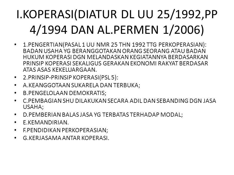 I.KOPERASI(DIATUR DL UU 25/1992,PP 4/1994 DAN AL.PERMEN 1/2006) 1.PENGERTIAN(PASAL 1 UU NMR 25 THN 1992 TTG PERKOPERASIAN): BADAN USAHA YG BERANGGOTAK