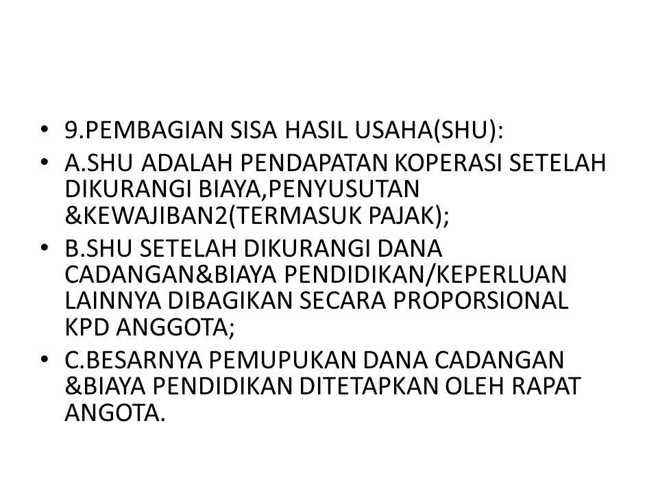 9.PEMBAGIAN SISA HASIL USAHA(SHU): A.SHU ADALAH PENDAPATAN KOPERASI SETELAH DIKURANGI BIAYA,PENYUSUTAN &KEWAJIBAN2(TERMASUK PAJAK); B.SHU SETELAH DIKU