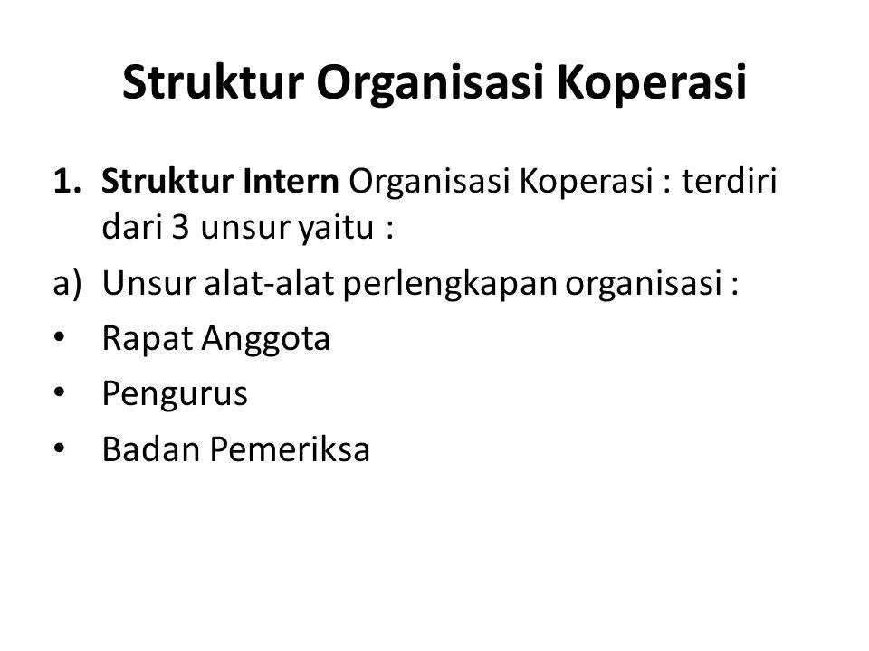 Struktur Organisasi Koperasi 1.Struktur Intern Organisasi Koperasi : terdiri dari 3 unsur yaitu : a)Unsur alat-alat perlengkapan organisasi : Rapat An