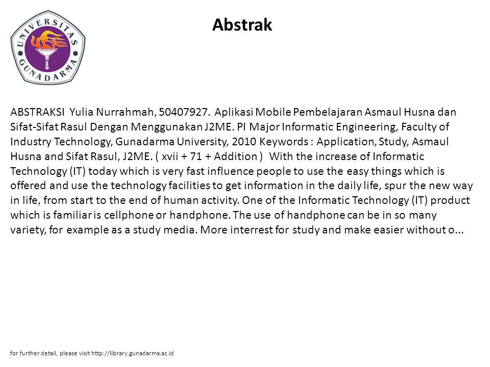 Abstrak ABSTRAKSI Yulia Nurrahmah, 50407927.