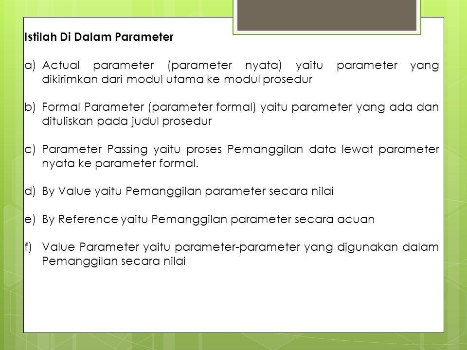Istilah Di Dalam Parameter a)Actual parameter (parameter nyata) yaitu parameter yang dikirimkan dari modul utama ke modul prosedur b)Formal Parameter